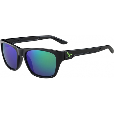 Cebe Hacker Shiny Black Green 1500 Grey Flash Mirror Green Sunglasses