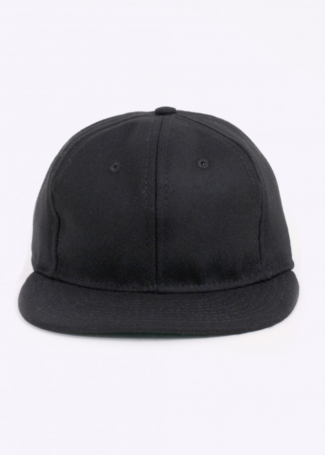 Wool 6 Panel Strap Back Cap - Black