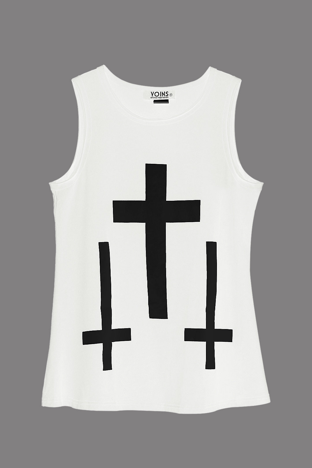 White Tank Top with Cross Print