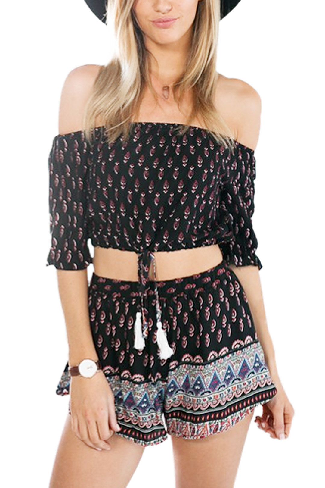 Spiritual Hippie Cropped Off Shoulder Top With All Over Random Print Co-Ord