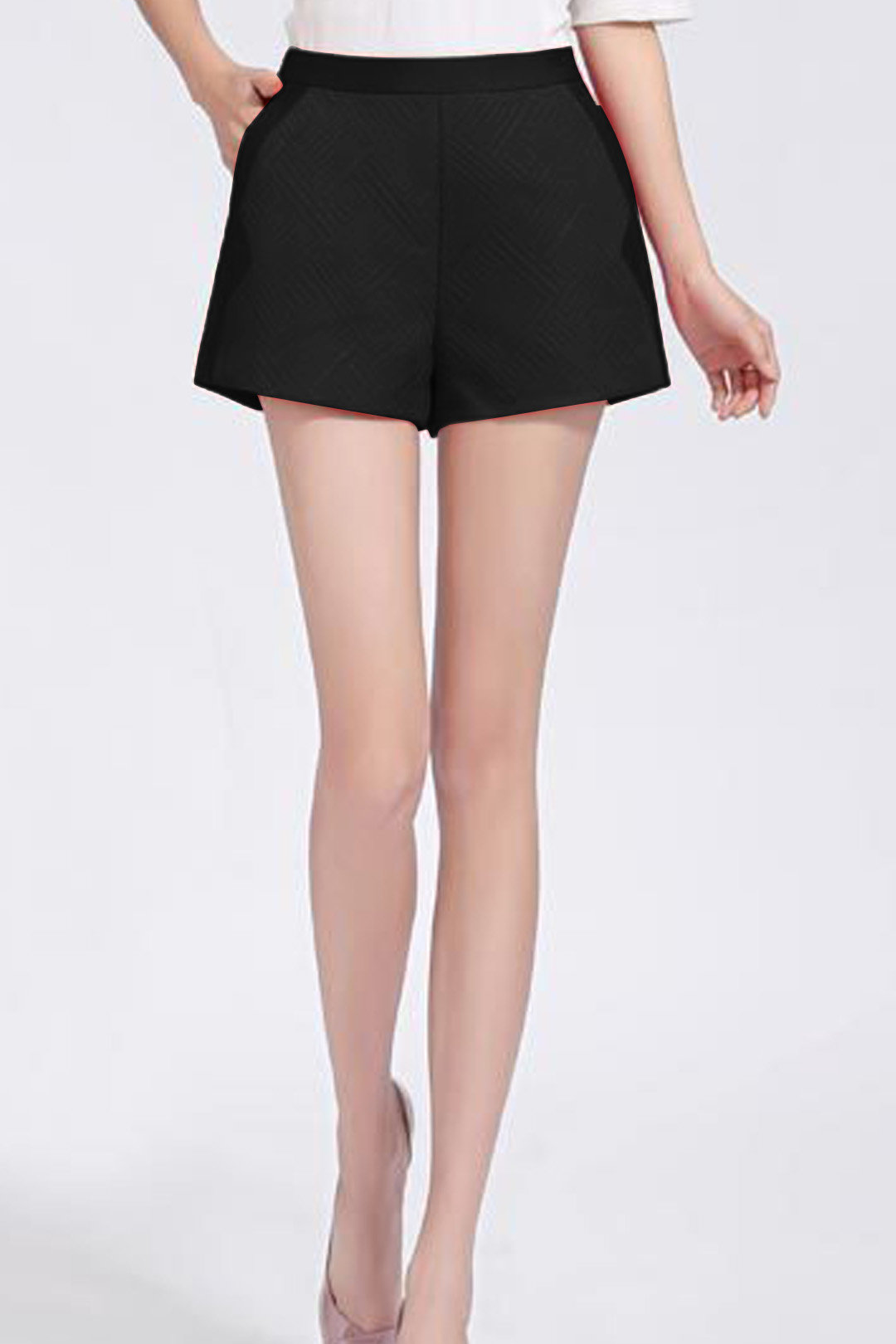 Black High Waist Shorts with Side Pockets