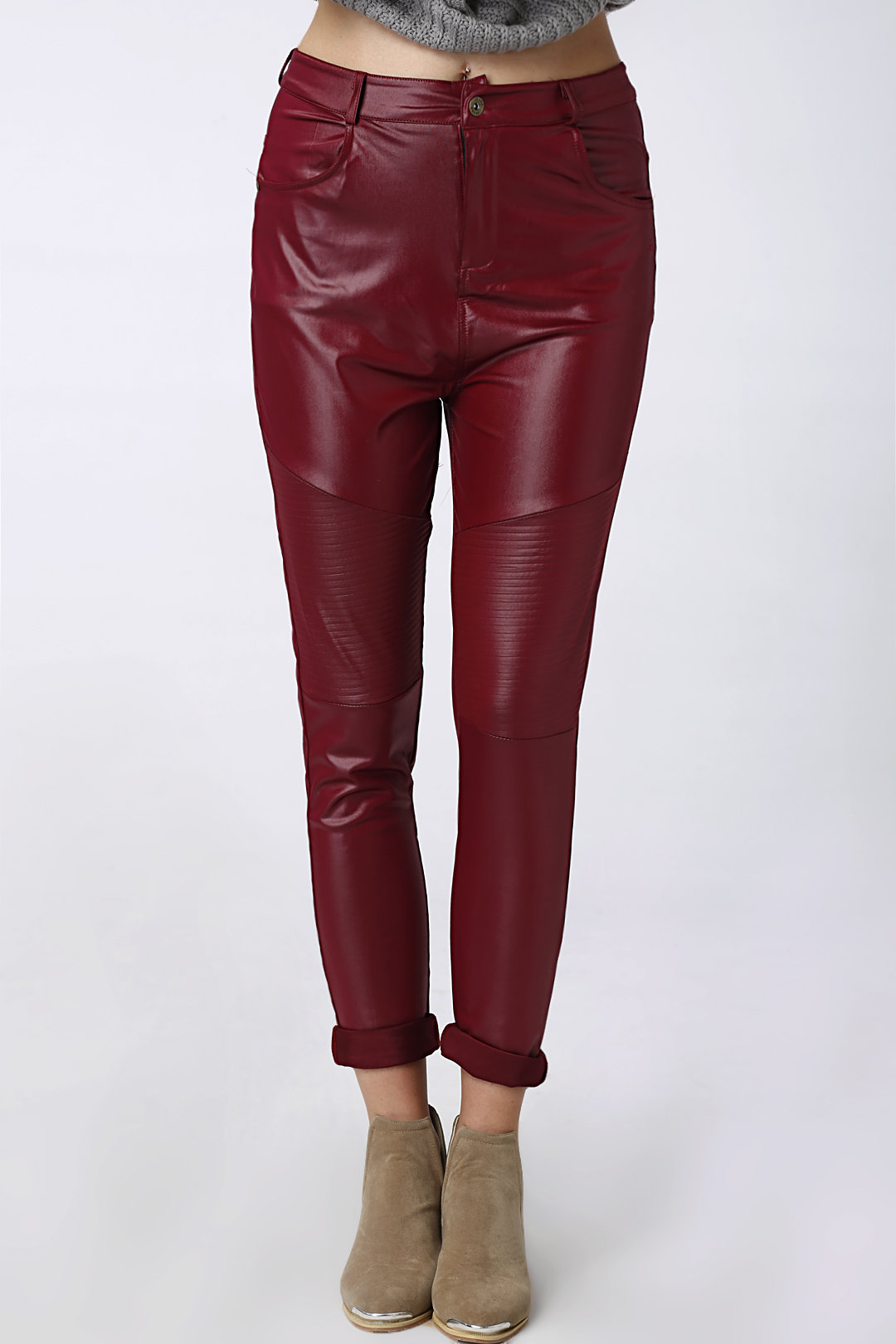 Red Zip & Button Closure Front Fold Leather Trousers