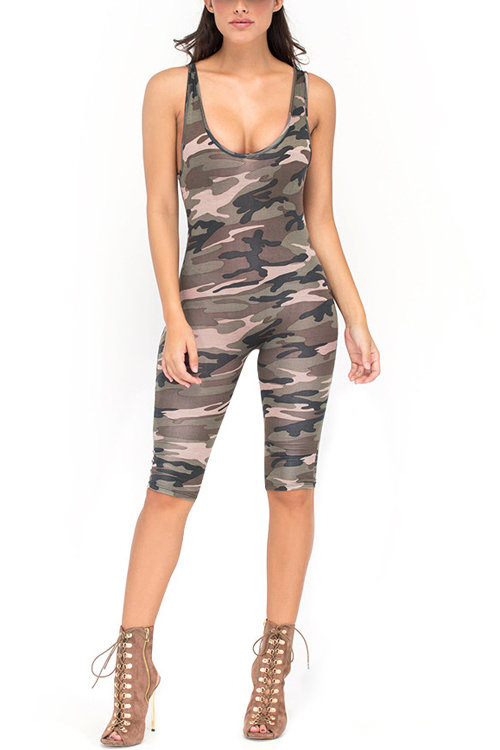 Camouflage Pattern Backless Jumpsuit