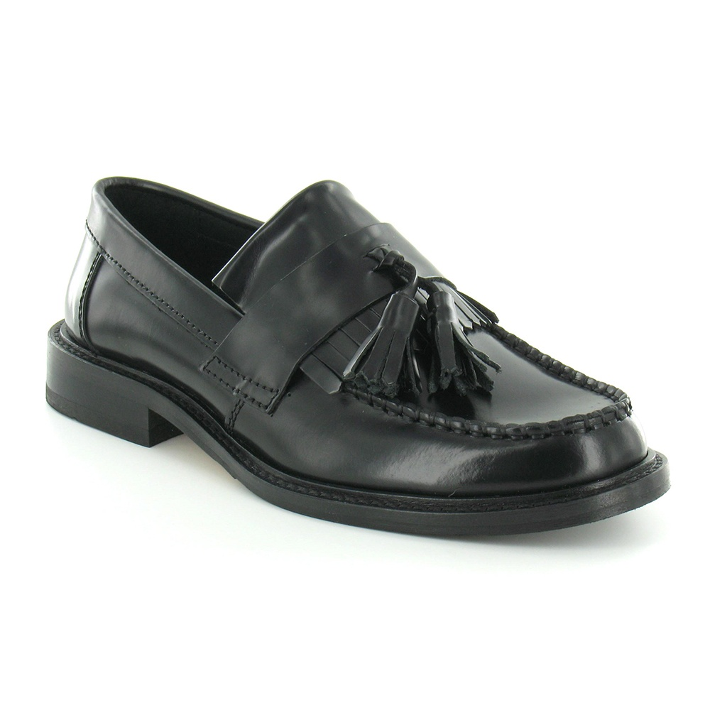 Ikon Selecta Womens Leather Apron Front Tassel Loafers - Black
