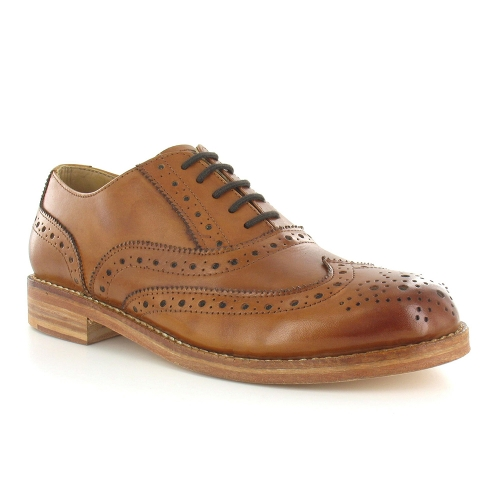 Paolo Vandini Horatio Mens Leather Brogue Derby Shoes - Tan Brown
