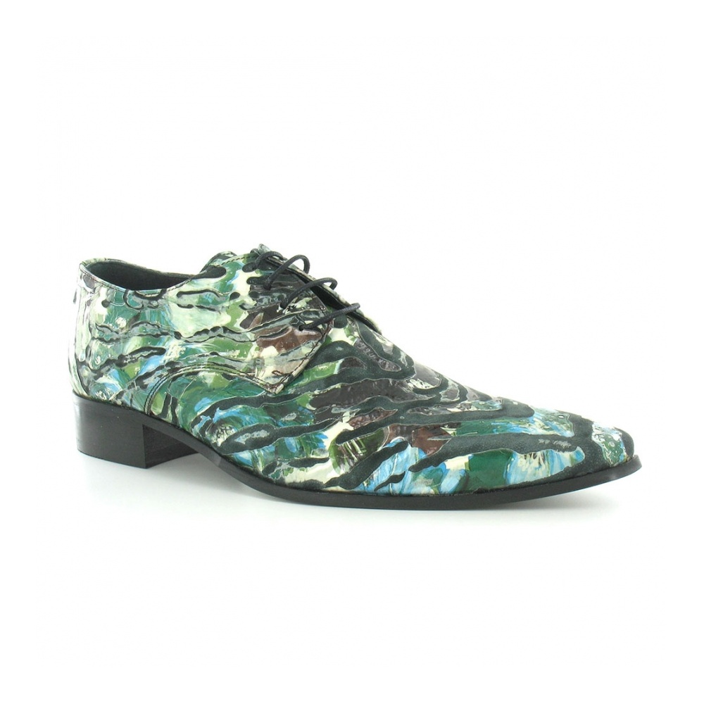 Gucinari 16001 Mens Premium Leather Mondo Print Lace-up Designer Shoes - Green-Multi