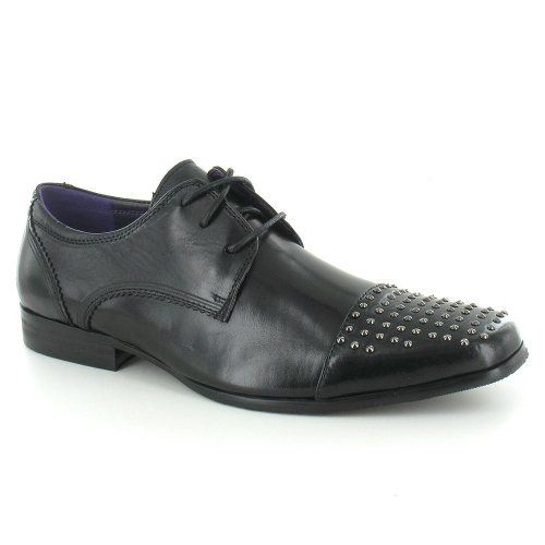 Gucinari JP2905 Mens Leather Derby Studded Cap Toe Shoes - Black