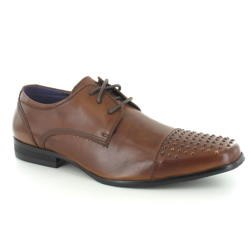 Gucinari JP2905 Mens Leather Derby Studded Cap Toe Shoes - Tan Brown