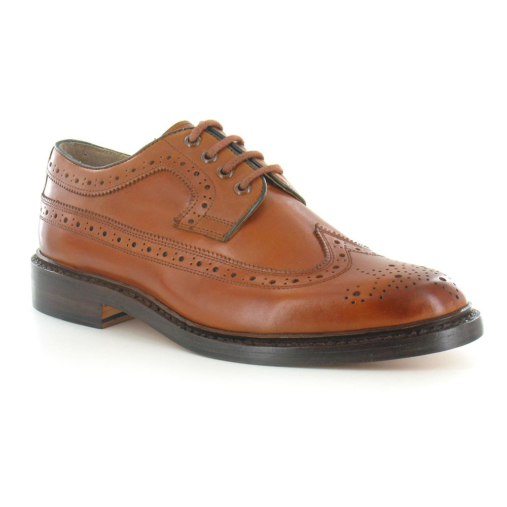 Paolo Vandini George Mens Premium Leather Brogue 4-Eyelet Shoes - Tan Brown