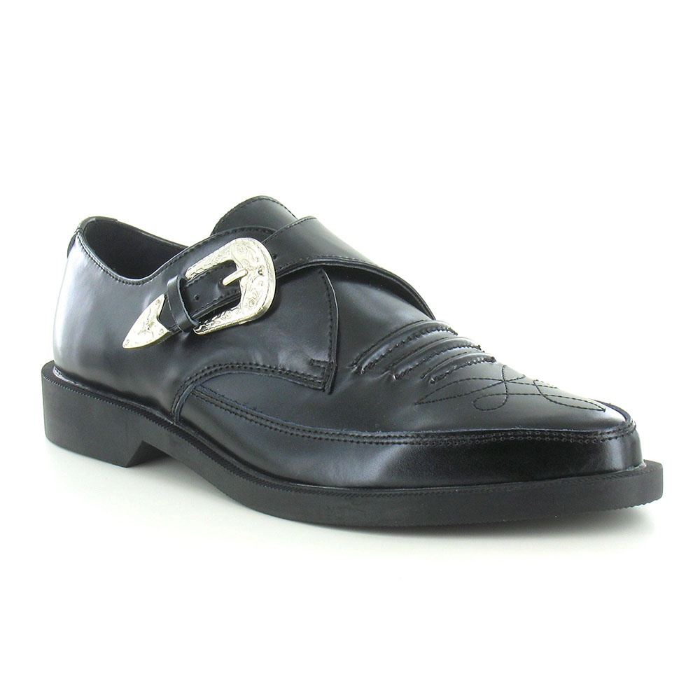 Tuk A8652 Mens Leather Buckle Monk Shoes - Black