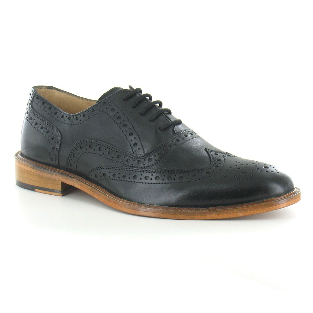 Paolo Vandini Manley Mens Leather Brogue Shoes - Black