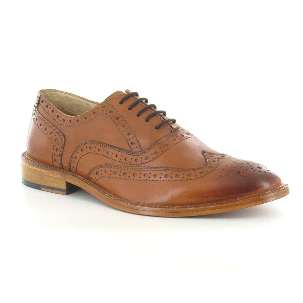 Paolo Vandin Manley Mens Leather Brogue Shoes - Tan Brown