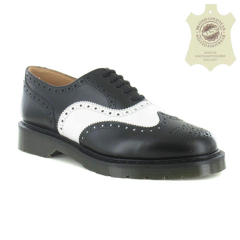 Solovair S5811 Mens 5-Eyelet Leather Derby Brogue Shoe - Black & White
