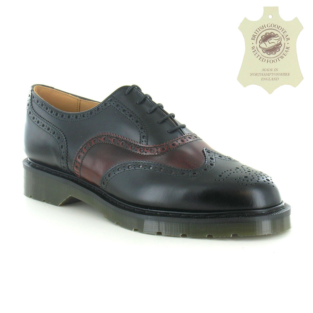 Solovair S5811 Mens 5-Eyelet Leather Derby Brogue Shoe - Black & Burgundy
