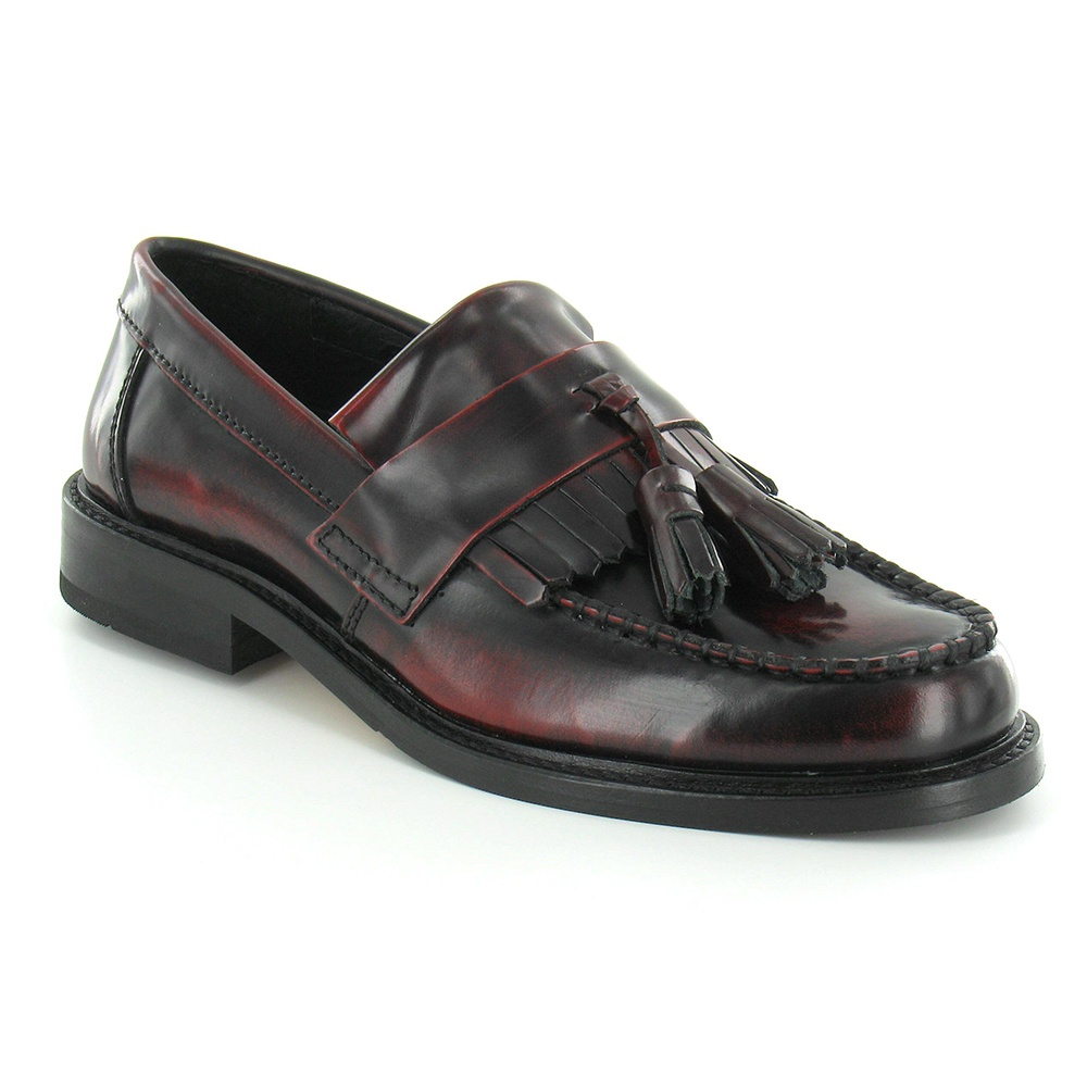 Ikon Selecta Mens Leather Apron Front Tassel Loafers - Bordo