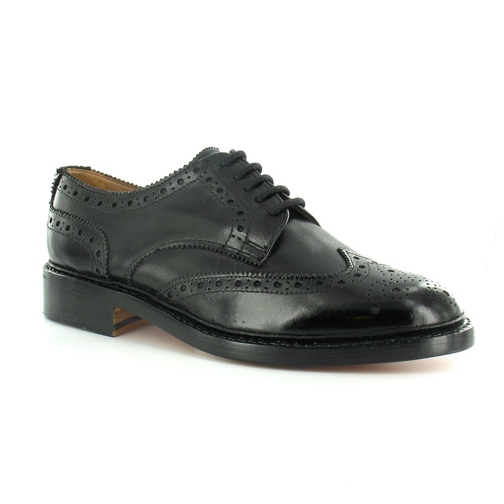 Paolo Vandini Gladstone Mens Premium Leather Brogue 5-Eyelet Shoes - Black