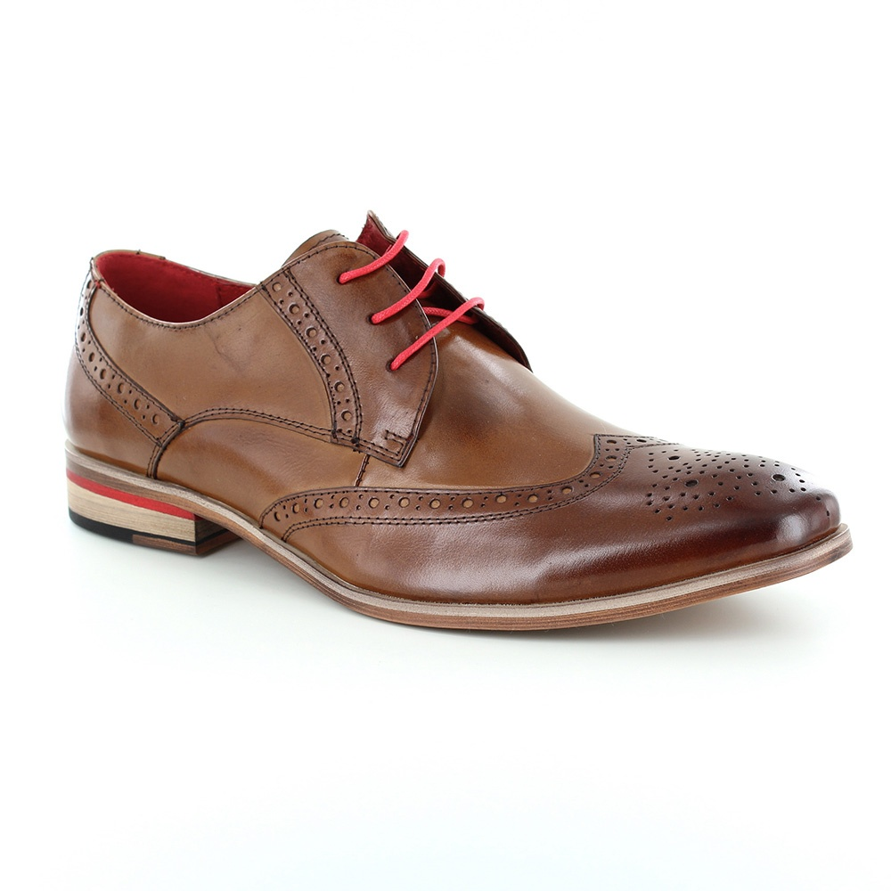 Paolo Vandini Orlando Mens Leather Brogue Shoes - Tan Brown