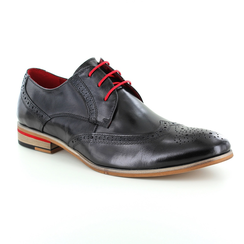 Paolo Vandini Orlando Mens Leather Brogue Shoes - Black