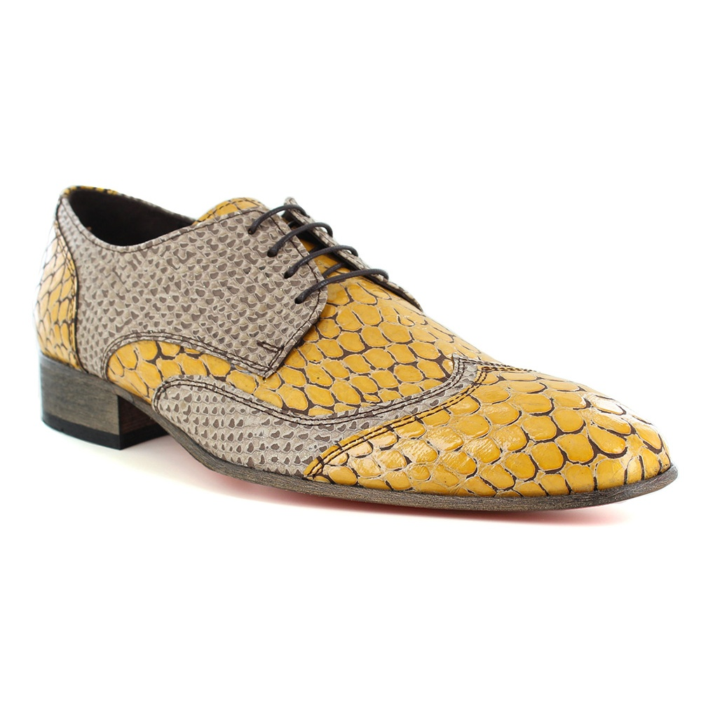 Fertini 16250 Mens Leather Faux Snake-Skin Lace-up Shoes - Wavy Bean Yellow
