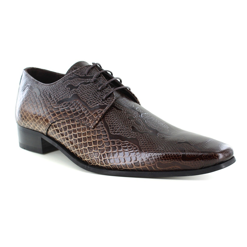 Fertini 16001 Mens Patent Leather Faux Crocodile-Skin Lace-up Shoes - Brown