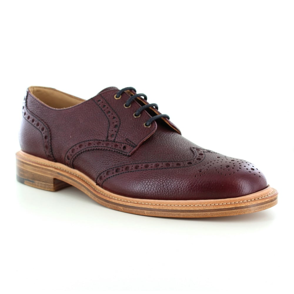 NPS Heritage 055-054 Mens Leather Wing-Tip Brogue Shoes - Burgundy Wine Red