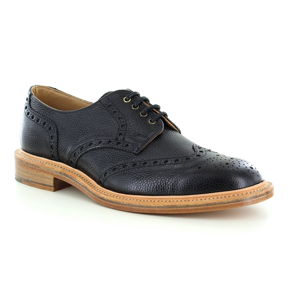 NPS Heritage 055-056 Mens Leather Wing-Tip Brogue Shoes - Classic Black