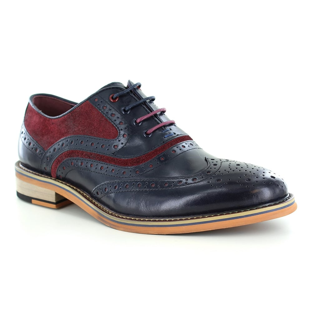 Justin Reece Bryan Mens High Shine Leather and Suede Full Brogue Shoes - Navy Blue and Wine Red