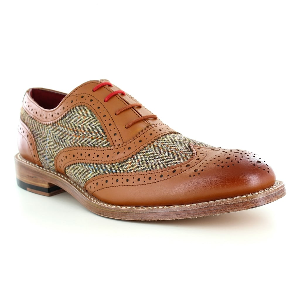 Justin Reece Truman Mens Leather and Tweed 4-Eyelet Brogue Shoes - Tan Brown