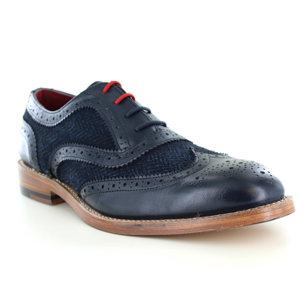 Justin Reece Truman Mens Leather and Tweed 4-Eyelet Brogue Shoes - Navy Blue
