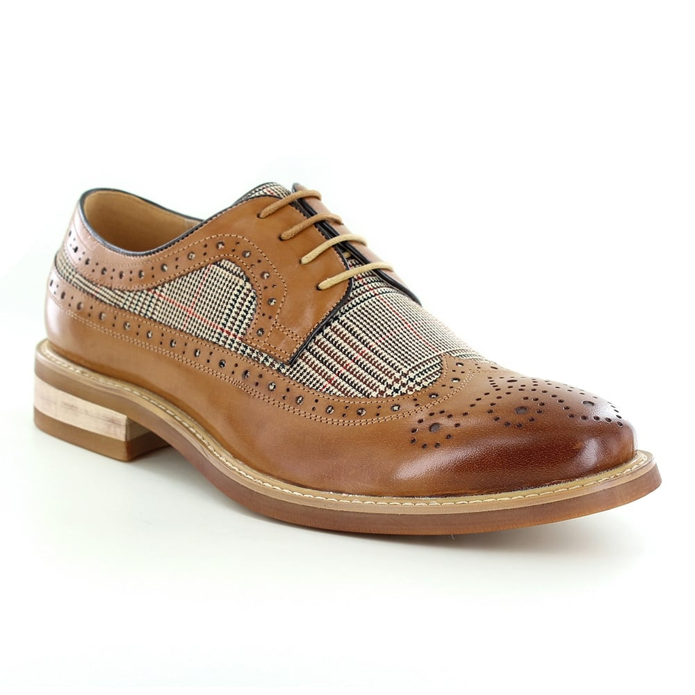 Justin Reece Craig Mens Leather and Tweed 4-Eyelet Brogue Shoes - Brown
