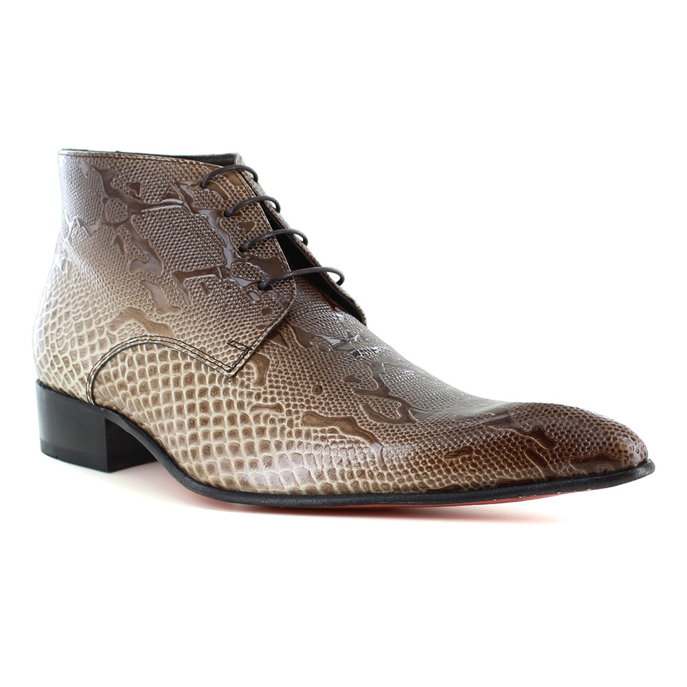 Fertini 7275 Mens Patent Leather Faux Crocodile-Skin Lace-up Boots - Beige