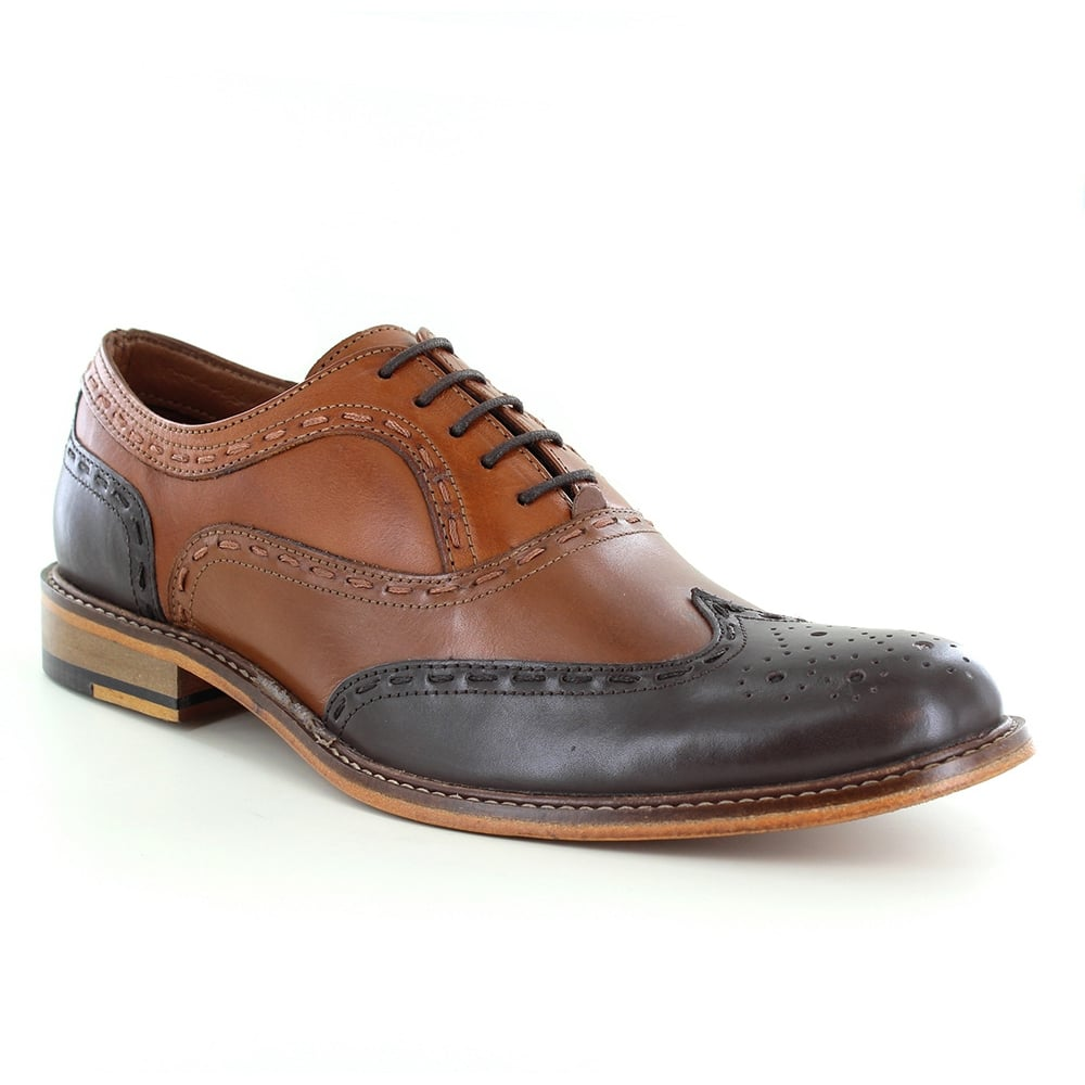 Paolo Vandini Penryn Mens Leather Two-Tone Brogue Shoes - Brown