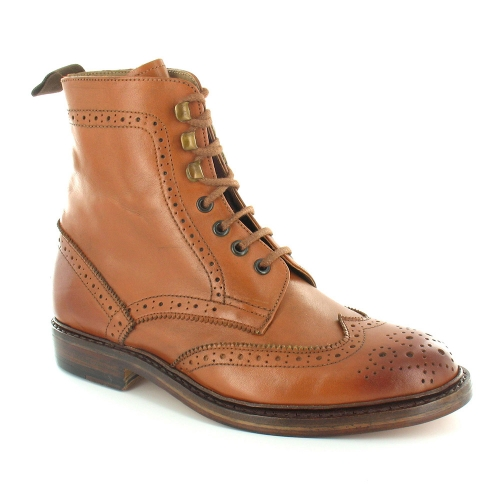 Paolo Vandini Guard Mens Premium Leather Country Brogue 7-Eyelet Lace-Up Boots - Tan Brown