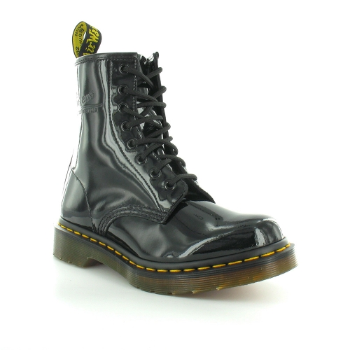 Dr Martens 1460W Womens Patent Leather 8-Eyelet Ankle Boots - Black