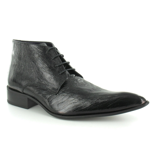 Gucinari 7275 Mens Crinkle Patent Leather Lace-Up  Boots - Black