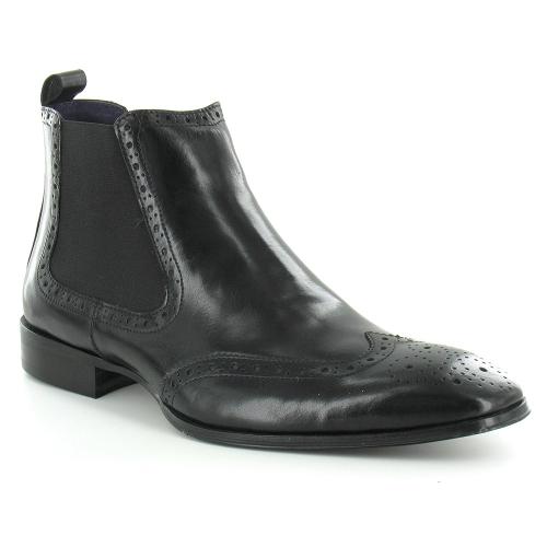 30dd05d9ee7 Gucinari D369-E1 Mens Leather Brogue Chelsea Boots - Black