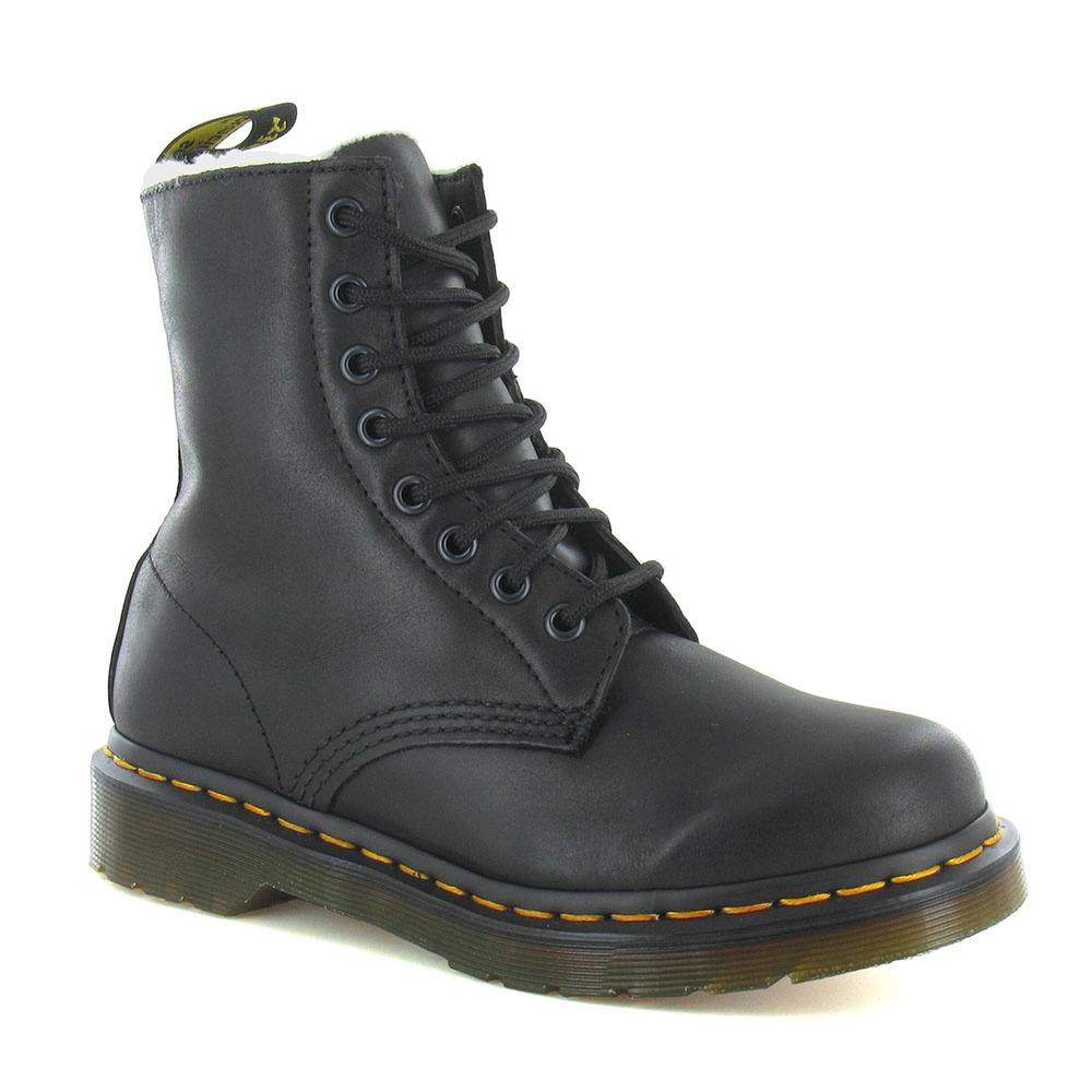 Dr Martens Serena Womens Leather Warm Lined 8-Eyelet Boots - Black