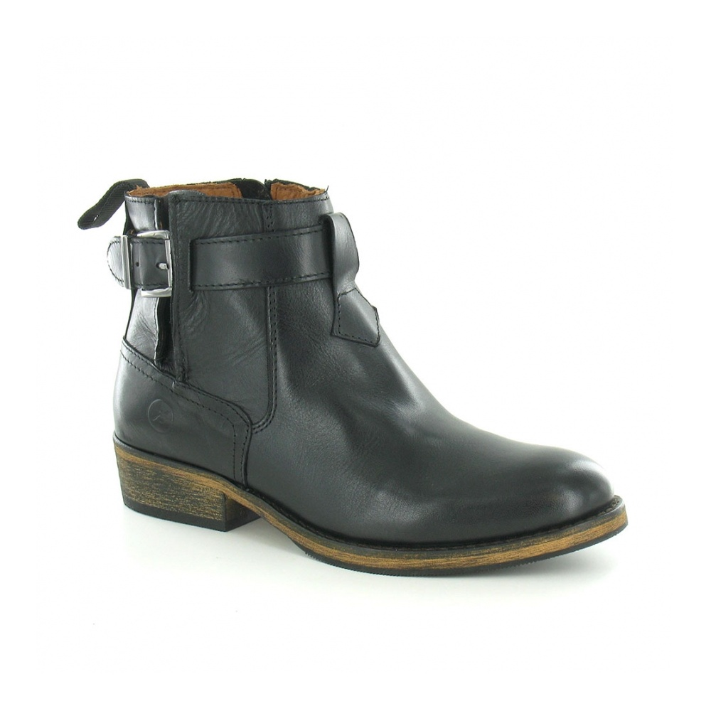 Bronx 43822-I Womens Leather Side-Zip Ankle Boot - Black