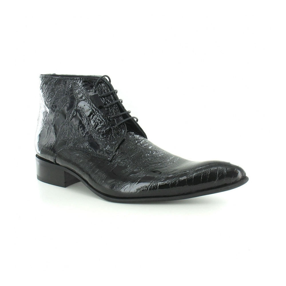 Gucinari 7275 Mens Patent Leather Mondo Print Lace-Up Boots - Black