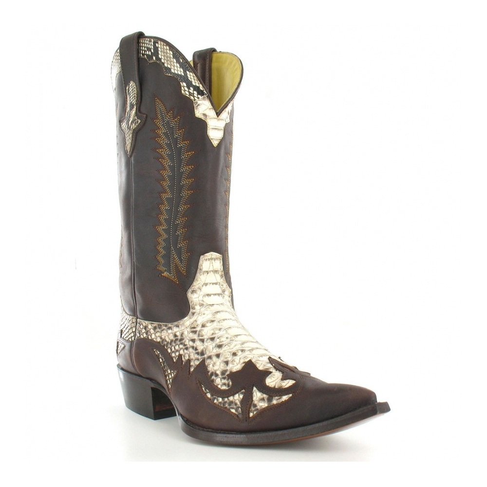 Go West Desperado Mens Leather And Snakeskin  Western Cowboy Boots - Natural & Cafe Brown
