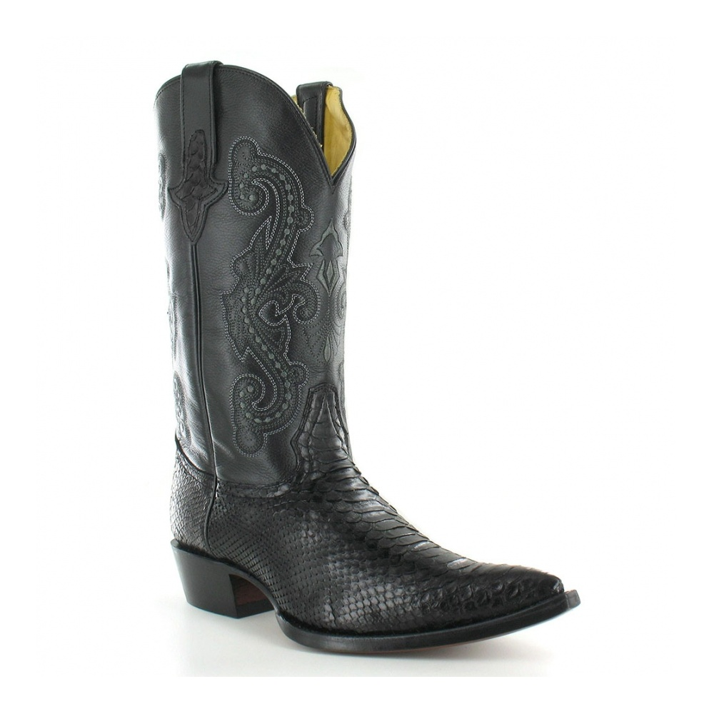 Go West El Camino Mens Leather And Snakeskin Western Cowboy Boots - Black