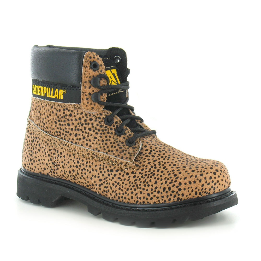 Caterpillar Colorado P307005 Womens Hair-On Leather 6-Tie Boots - Peat & Black Leopard