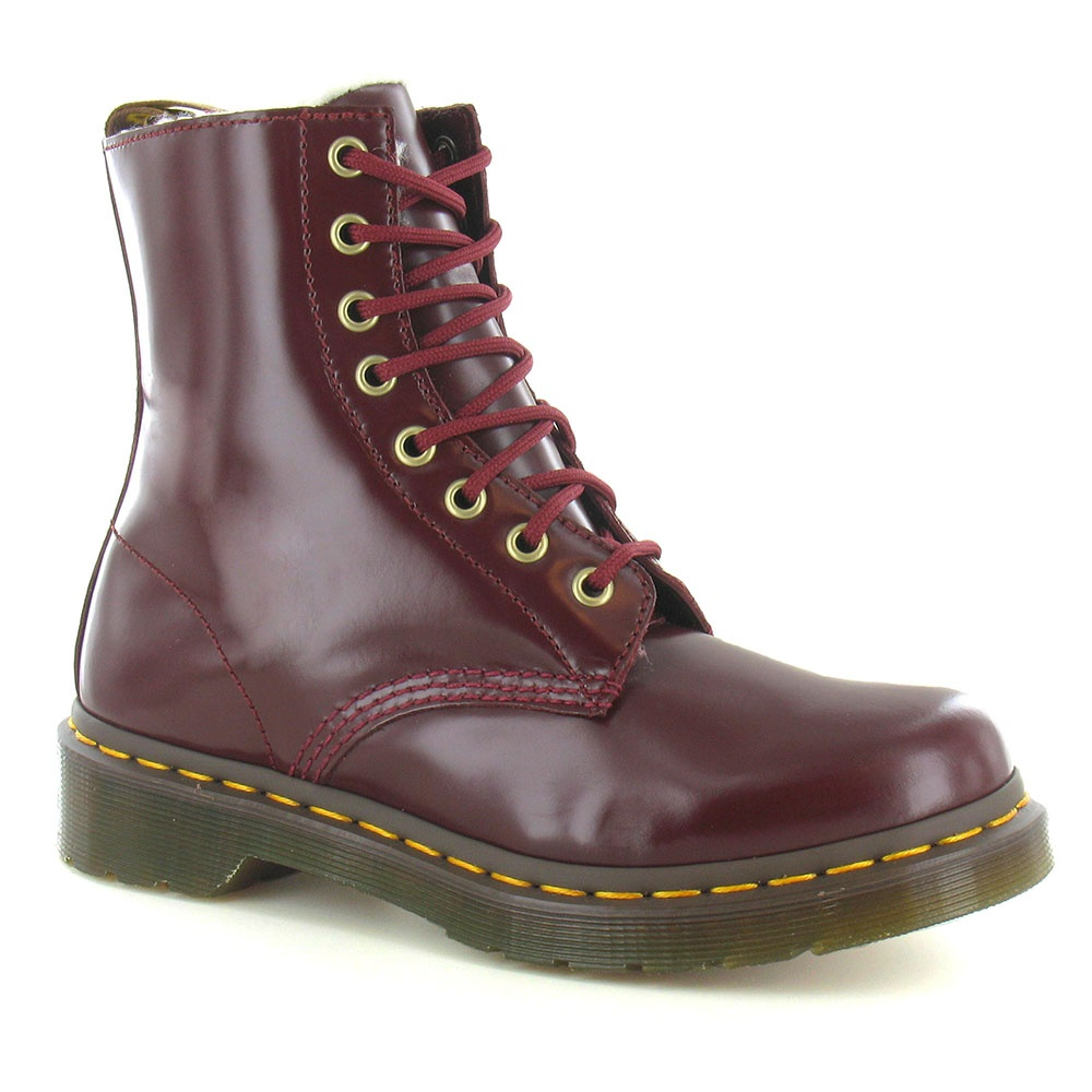 Dr Serena Womens Leather Warm Lined 8-Eyelet Boots - Shiraz Red