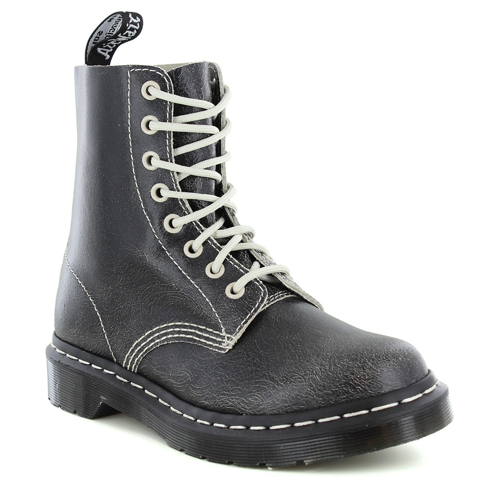 Dr Martens Pascal Womens Leather 8-Eyelet Ankle Boots - Black & White