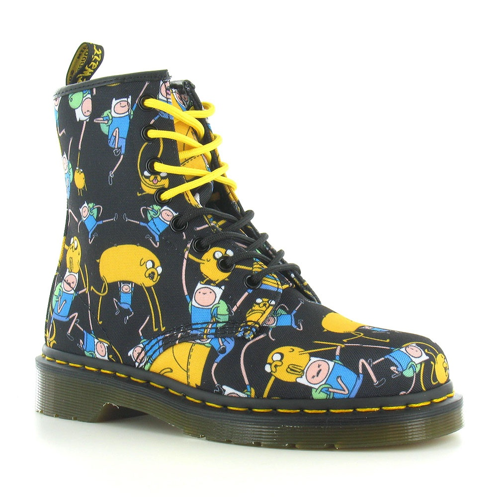 Dr Martens Castel Unisex Adventure Time Finn and Jake Canvas Boots - Multicolour Print