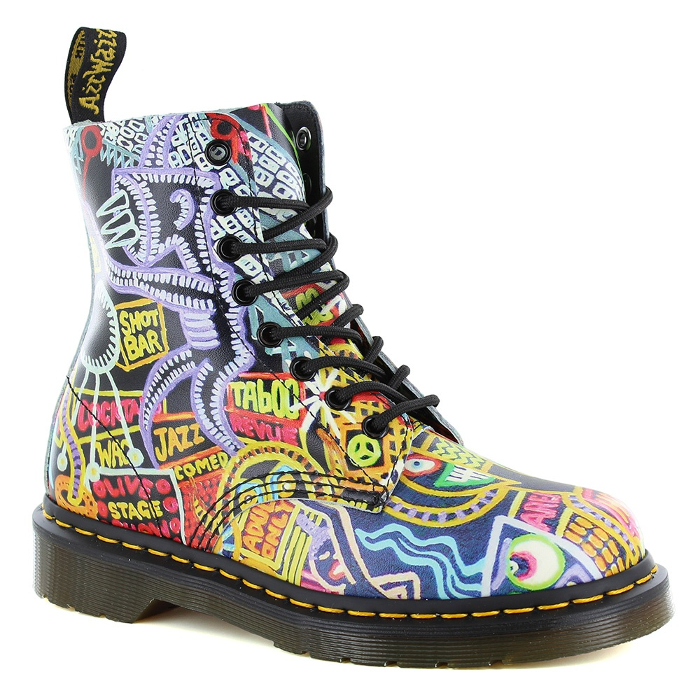 Dr Martens Pascal Womens Leather 8-Eyelet Ankle Boots - Kaboom Multi