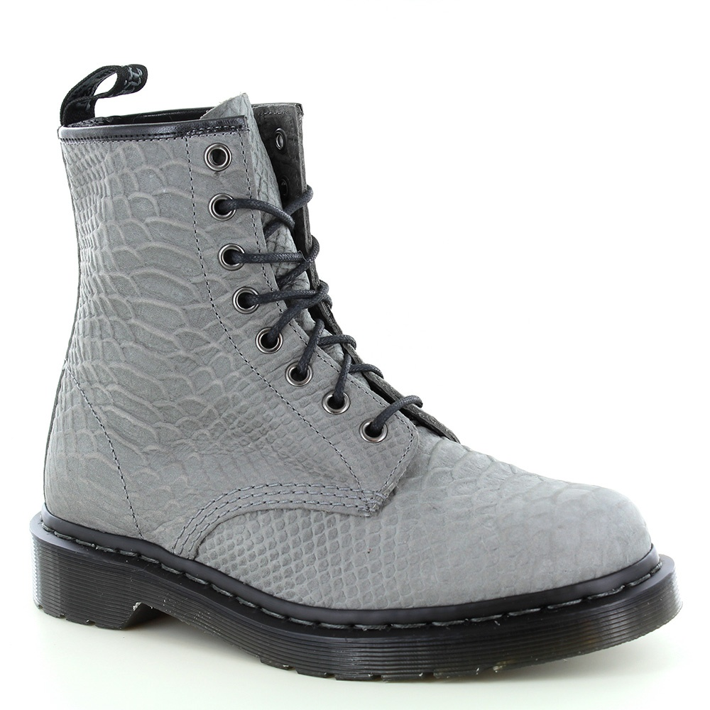 Dr Martens 1460 Unisex 8-Eyelet Python Suede Leather Boots - Grey