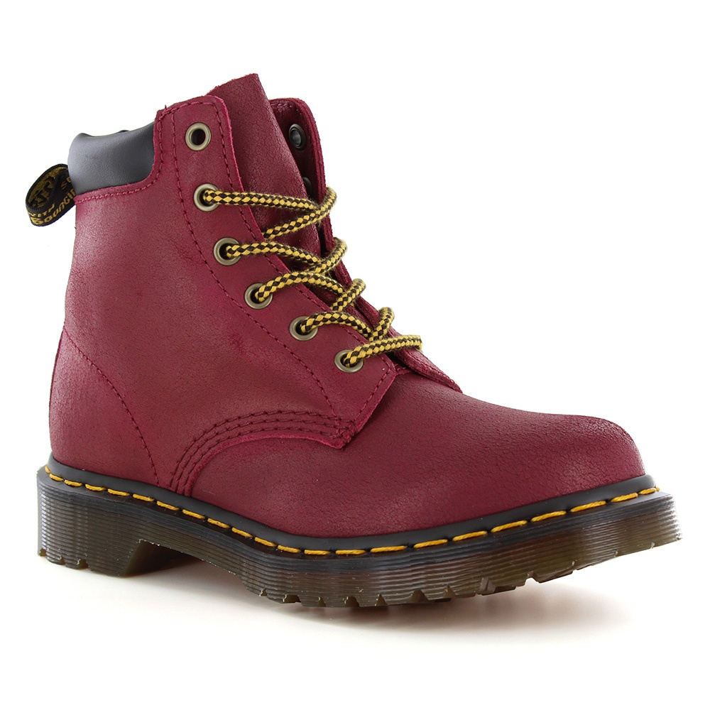 Dr Martens 939 Hiker Womens Greasy Suede Ankle Boots - Deep Red