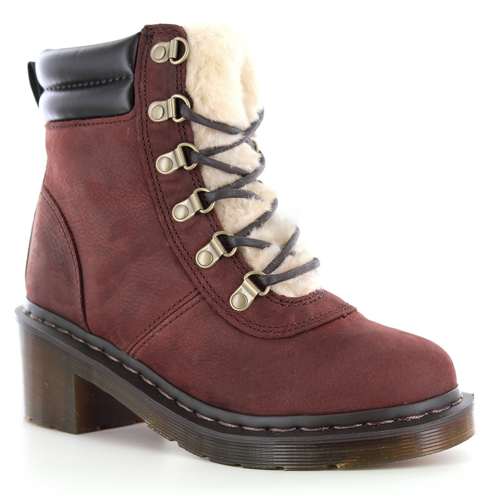 Dr Martens Sylvia Womens Warm Leather Hiker Boots - Brown
