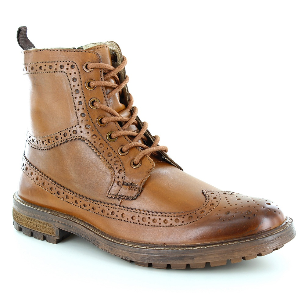 Paolo Vandini Neighbourne Mens Leather 7-Eyelet Brogue Boots - Tan Brown